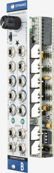 Bastl Instruments Dynamo Eurorack Module | envelope follower, comparator, and voltage controlled switch | side view